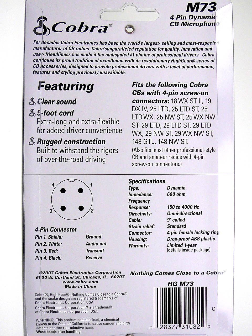 cobra hg m73 70 series cb radio microphone 28377310829 ebay