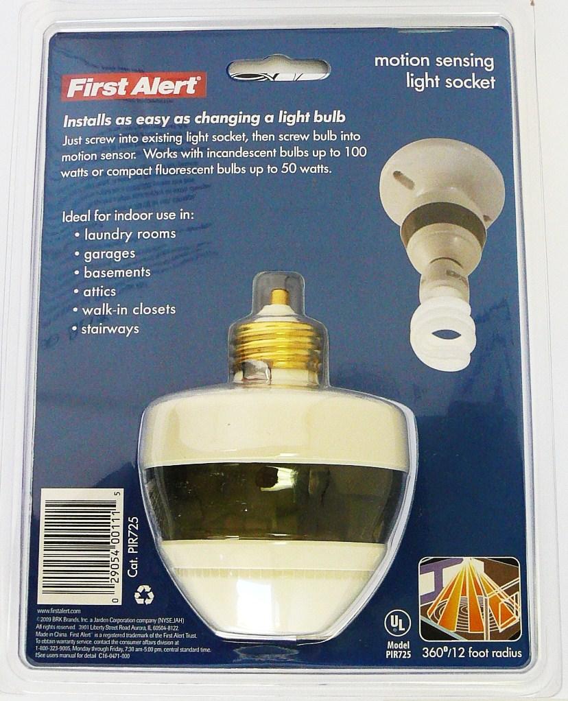 lot of 2 first alert pir725 motion sensing light bulb socket 120. Black Bedroom Furniture Sets. Home Design Ideas