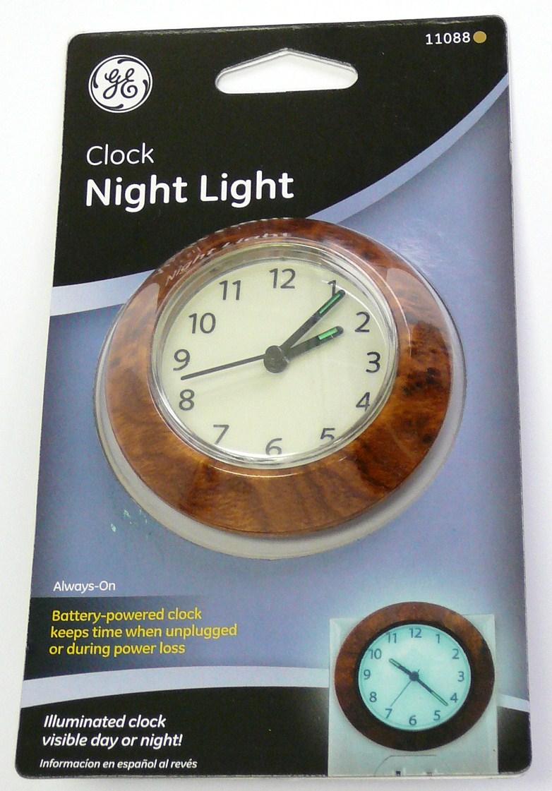 ge 11088 wood clock night light ebay. Black Bedroom Furniture Sets. Home Design Ideas